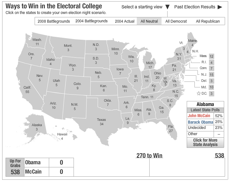 used an interactive Electoral College map from Yahoo on the SmartBoard.