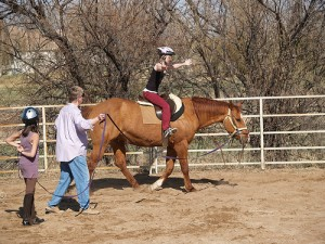 Learning how to ride on the longe