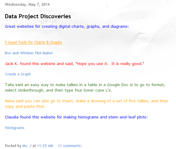 Ms. J s 6th Grade Math  Data Project Discoveries-blog